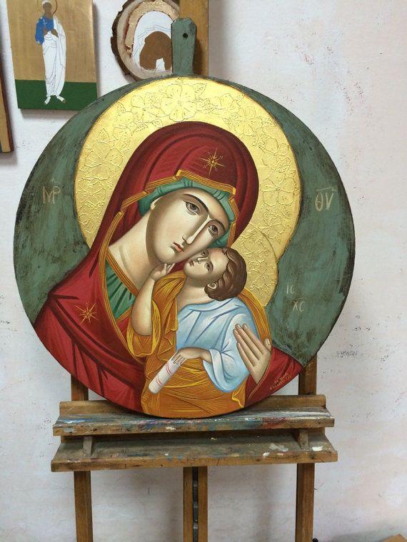 Panagia-Mother of God - handpainted Greek Christian Orthodox byzantine icon