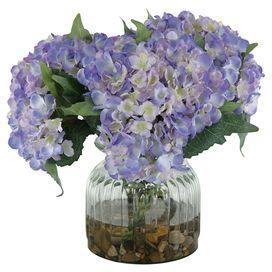 Faux Blue Hydrangea With Pebbles Hydrangea Arrangements Faux Flowers Faux Flower Arrangements