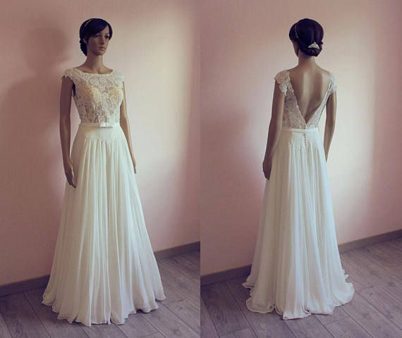 Boho Lace Chiffon Wedding Dress With V Back Nude Lace Cape Sleeves