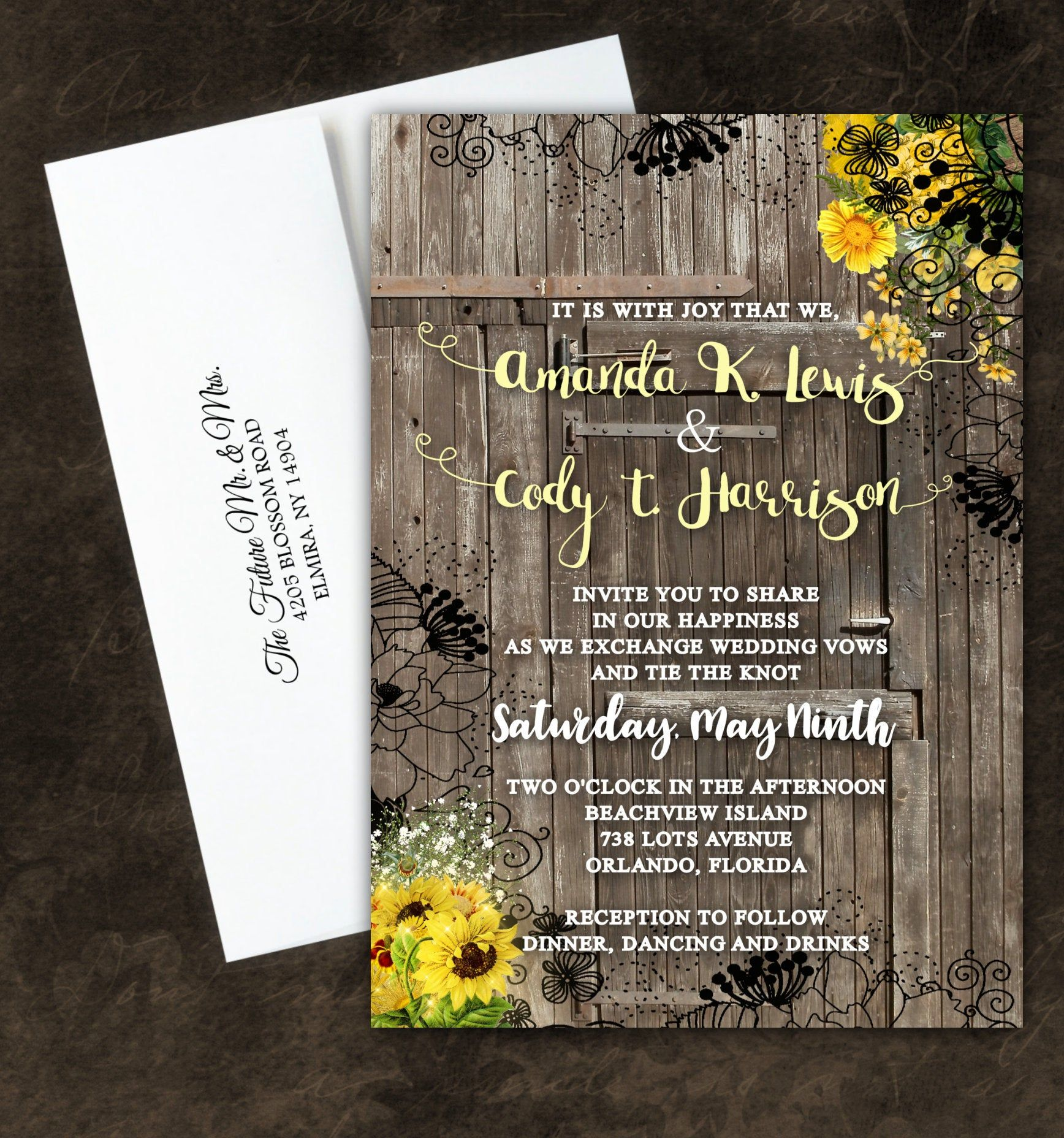 Photo of Invitaciones de boda de girasol Invitación de otoño de granja de granero Country Barn Barnhouse Invitación y tarjetas de respuesta
