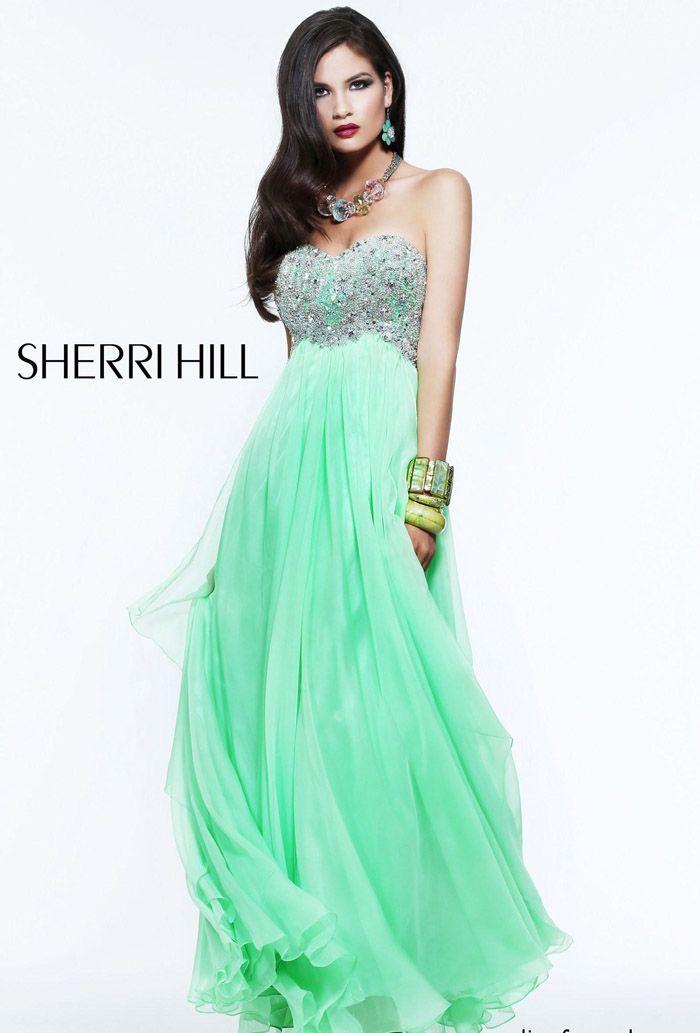 Sherri Hill 3862 Green A-Line Beaded Chiffon Long Evening Gown ...