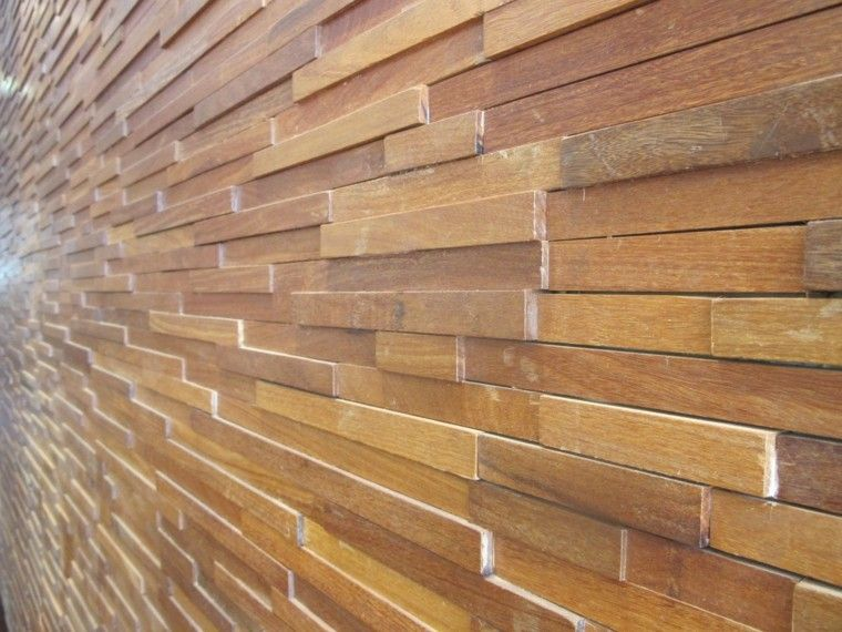 Pared exterior con bloques de madera de teca - Madera teca exteriores ...