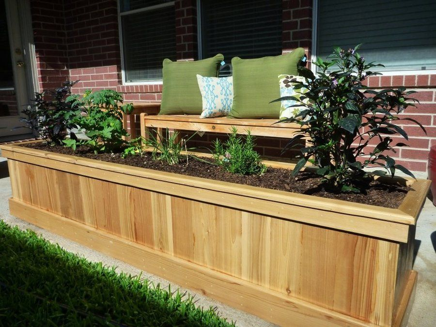 cedar planter box green Cedar planter box, Cedar