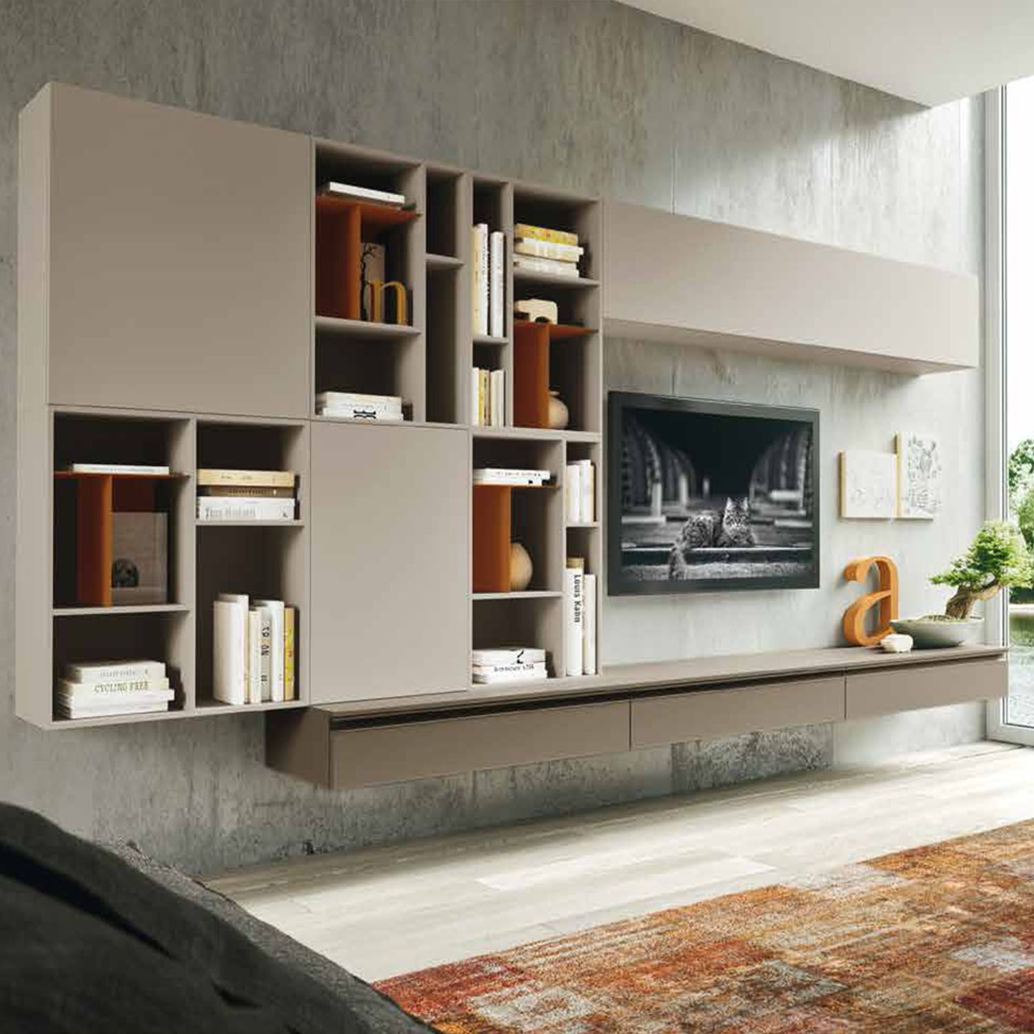 Wall mounted bookcase and wall mounted wooden units at my italian