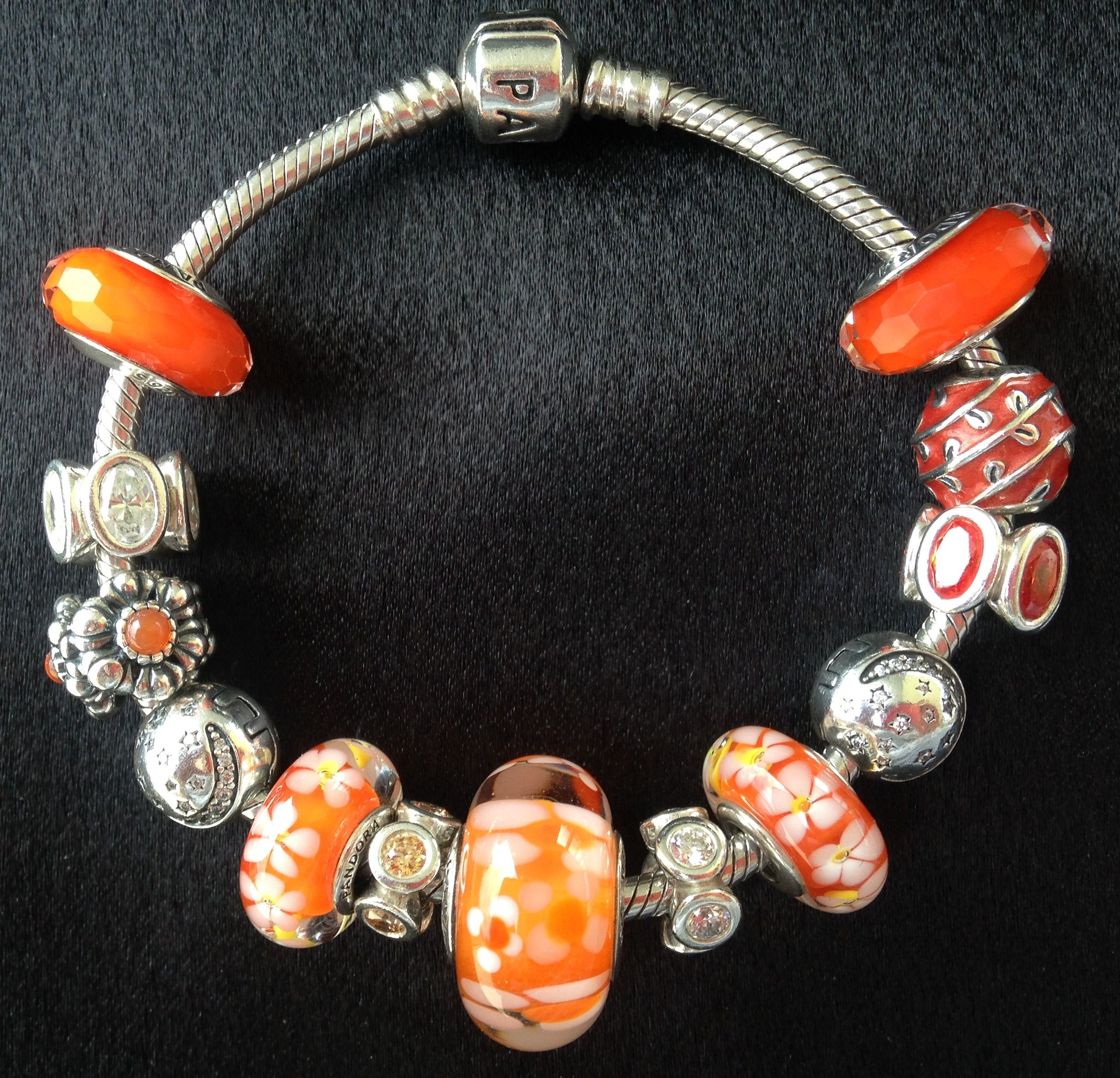 Pandora Orange Murano Glass Charms. The large one is Retired ...