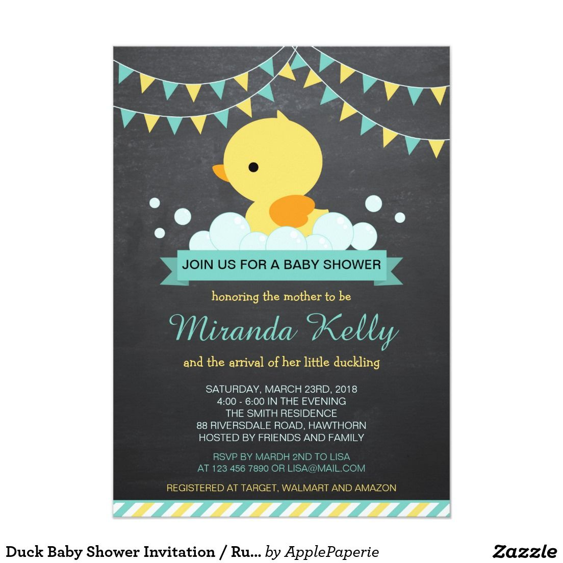 Duck Baby Shower Invitation / Rubber Duck Invite | Duck baby showers ...