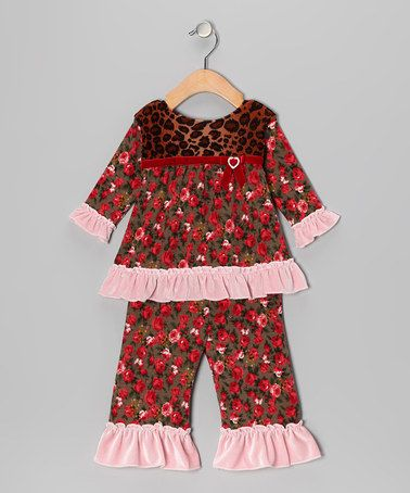 Save Now on this Pink Cheetah Flower Swing Top & Ruffle Pants - Infant by Haute Baby on #zulily today!