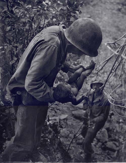 War Images - Soldier with Baby, 1944 by W. Eugene Smith