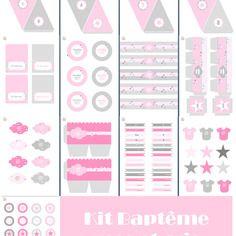 Kit A Imprimer Pour Babyshower Ou Bapteme Rose Et Gris