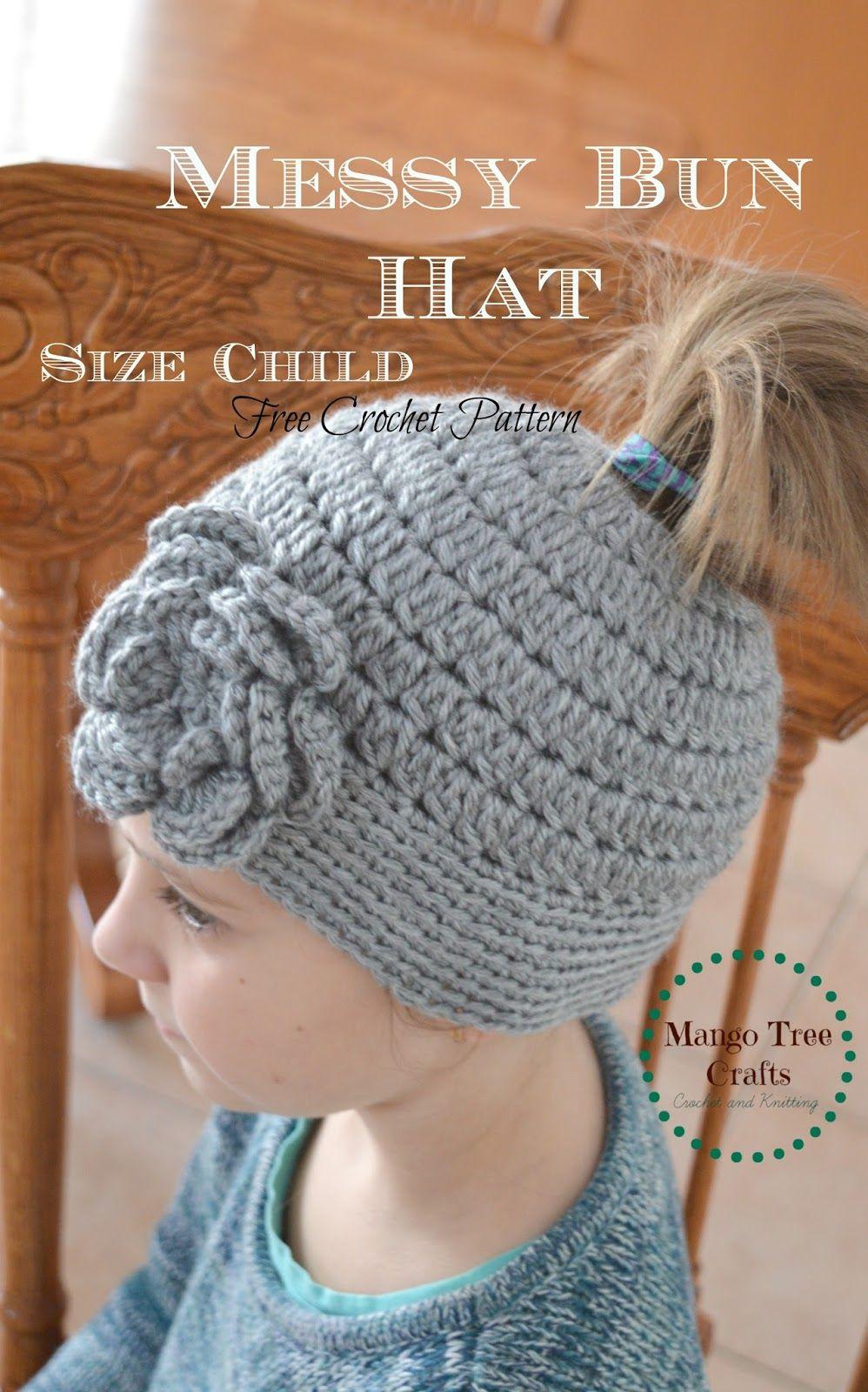 Mango Tree Crafts: Messy Bun Hat Free Crochet Pattern in 3 ...
