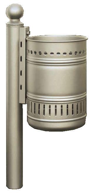 Abfallbehälter AFB 07 aus Stahlblech mit Halterung zur Rohrpfosten