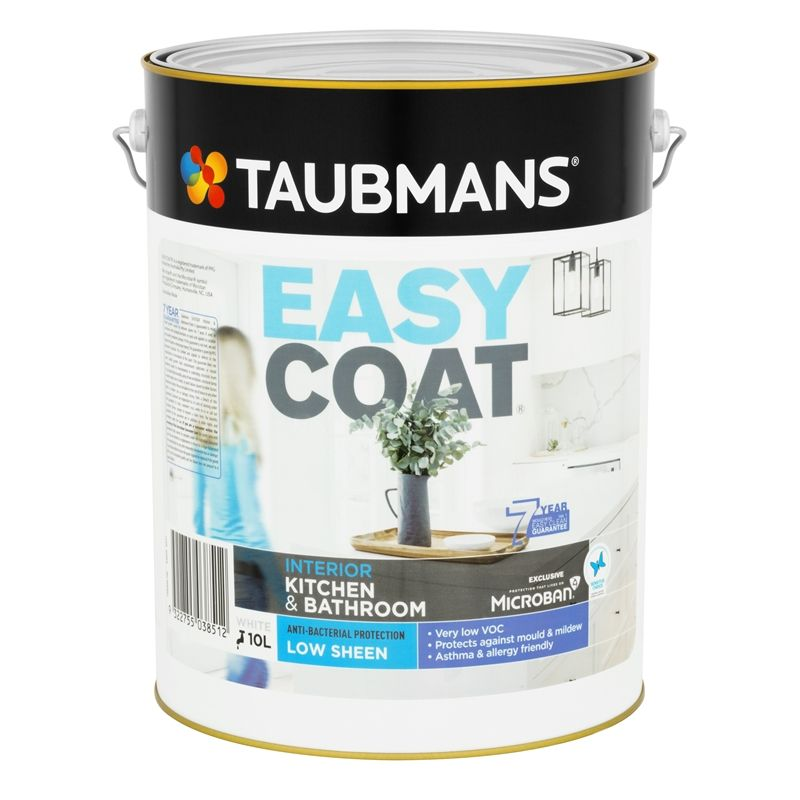 Taubmans Easycoat Low Sheen White Kitchen And Bathroom Paint 10l In 2020 Kitchen And Bathroom Paint Painting Bathroom Kitchens Bathrooms