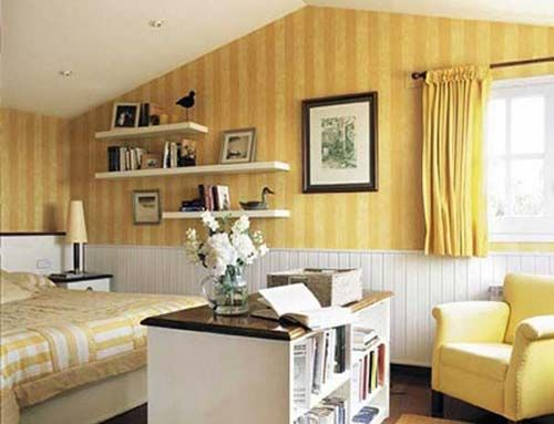 Simple Yellow Stripe Hues of Small Bedroom Wallpaper