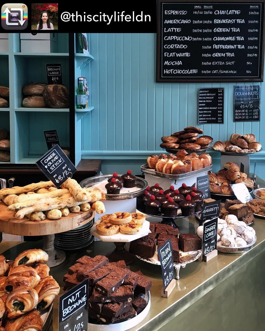 Instagram의 Breadahead님 Good Morning Londoners Repost From Thiscitylifeldn When You Re Standing On The Train In 2020 Bakery Shop Design Bakery Decor Cafe Food