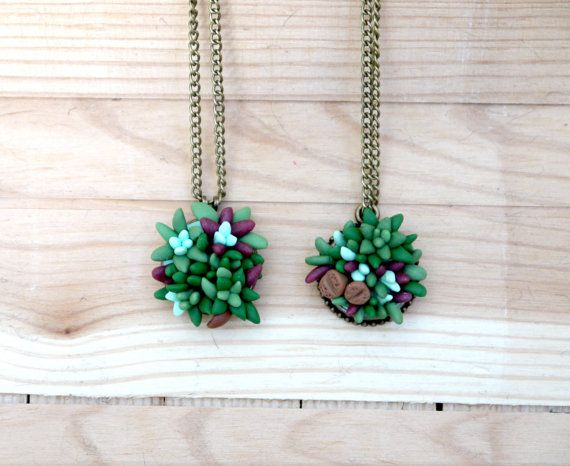 SUCCULENT NECKLACE  succulent jewelry  green by FranceProvence, $29.00