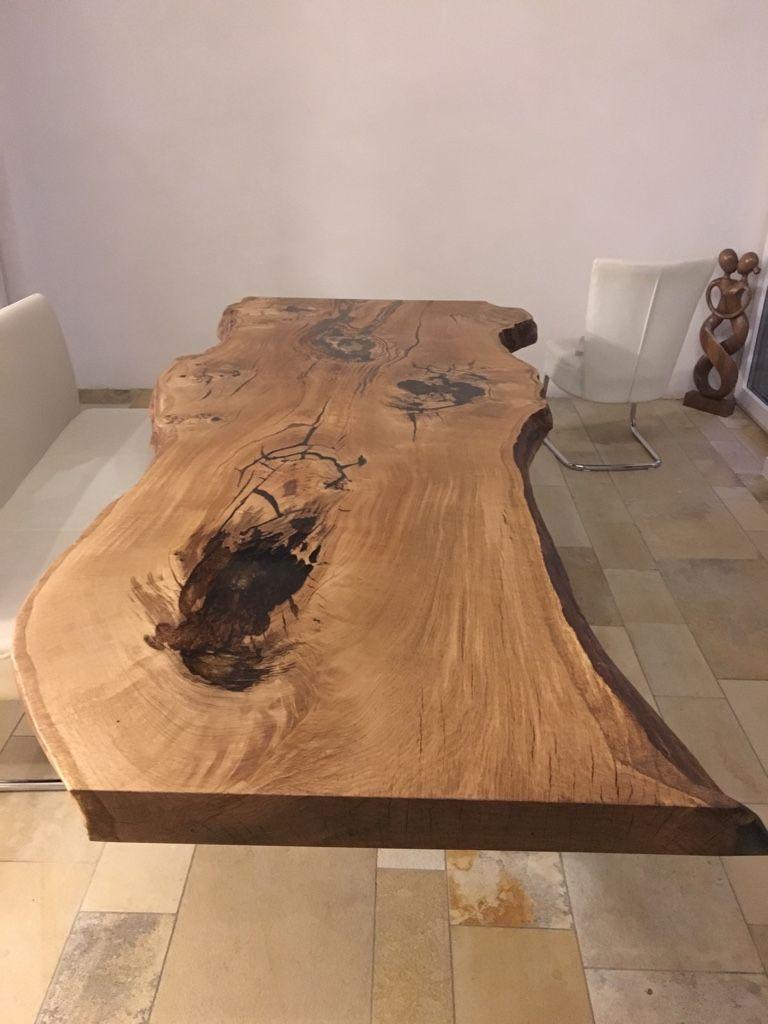 einzigartiger massiver eiche tisch aus einem st ck reclaimed design. Black Bedroom Furniture Sets. Home Design Ideas