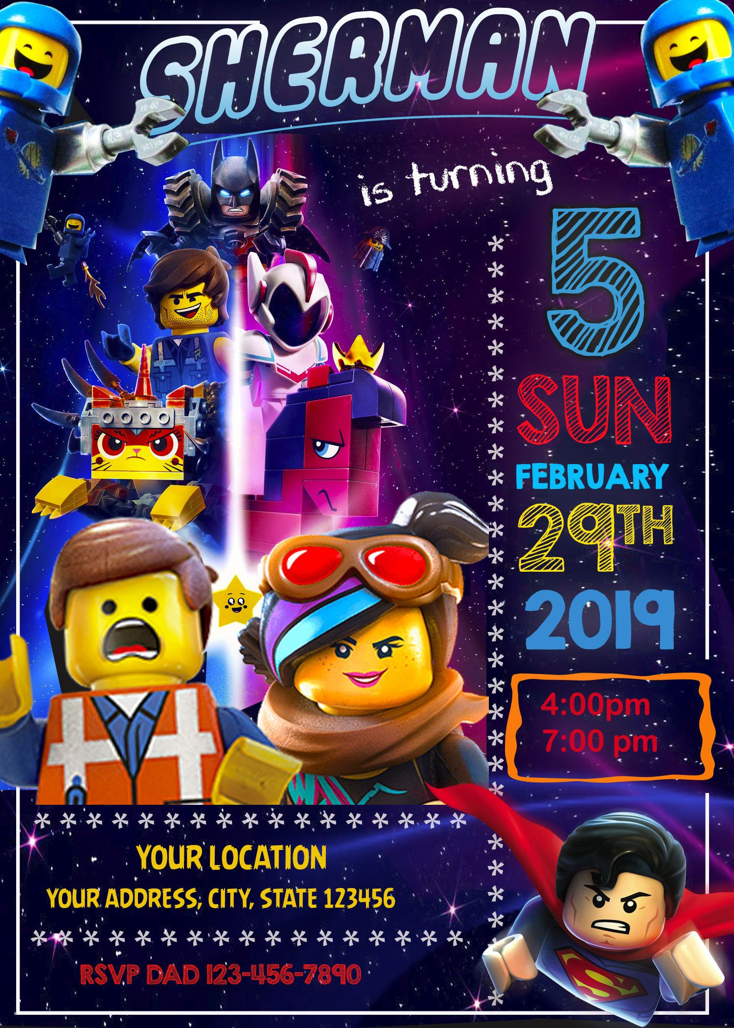 Lego Movie 2 Birthday Invitation Oscarsitosroom Producto