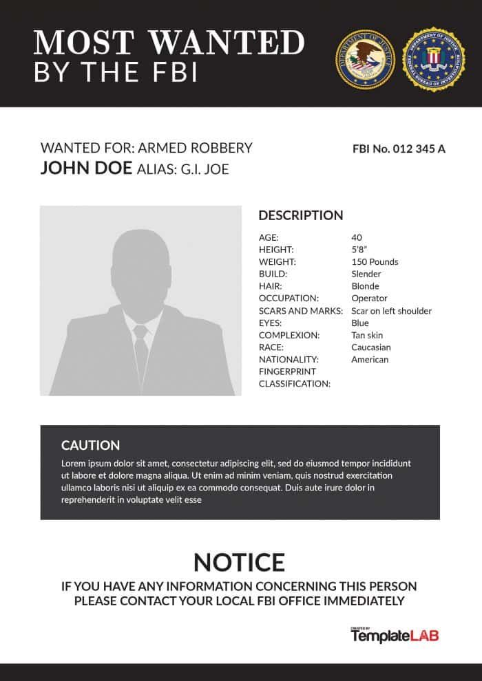 FBI Wanted Poster 2 - TemplateLab Exclusive hgf Pinterest - most wanted poster templates