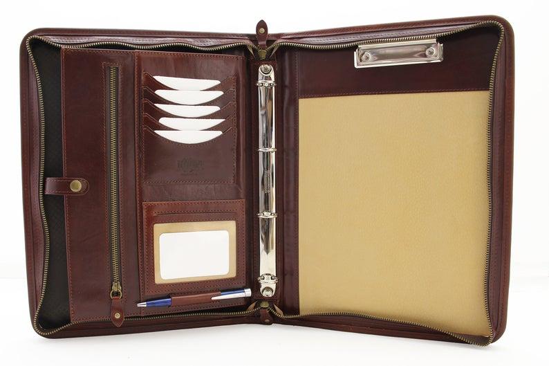 leather binder 4 ring  leather portfolio  padfolio for