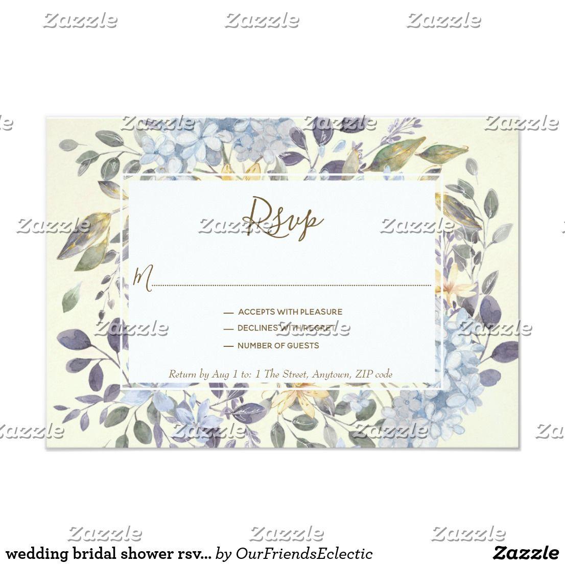 wedding bridal shower rsvp card blue floral Zazzle.co.uk