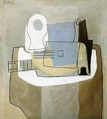 Pablo-Picasso-Guitare--bouteille-et-compotier--1921