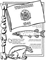 Coloring Pages State Symbols Wisconsin Activities Homeschool Social Studies