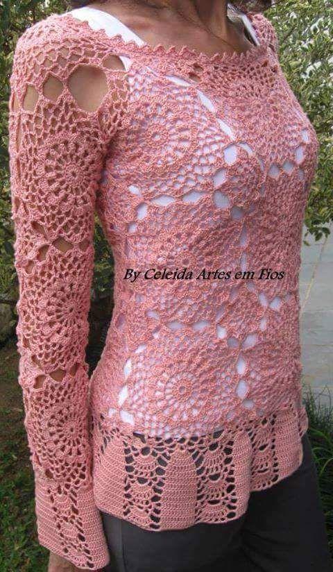 6c31f2fe09 nyari pulover, bluz | HÚSVÉT | Crochet blouse, Crochet és Knit Crochet