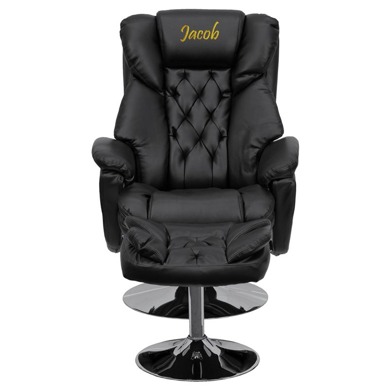 Black saddle stool recliner with ottoman leather