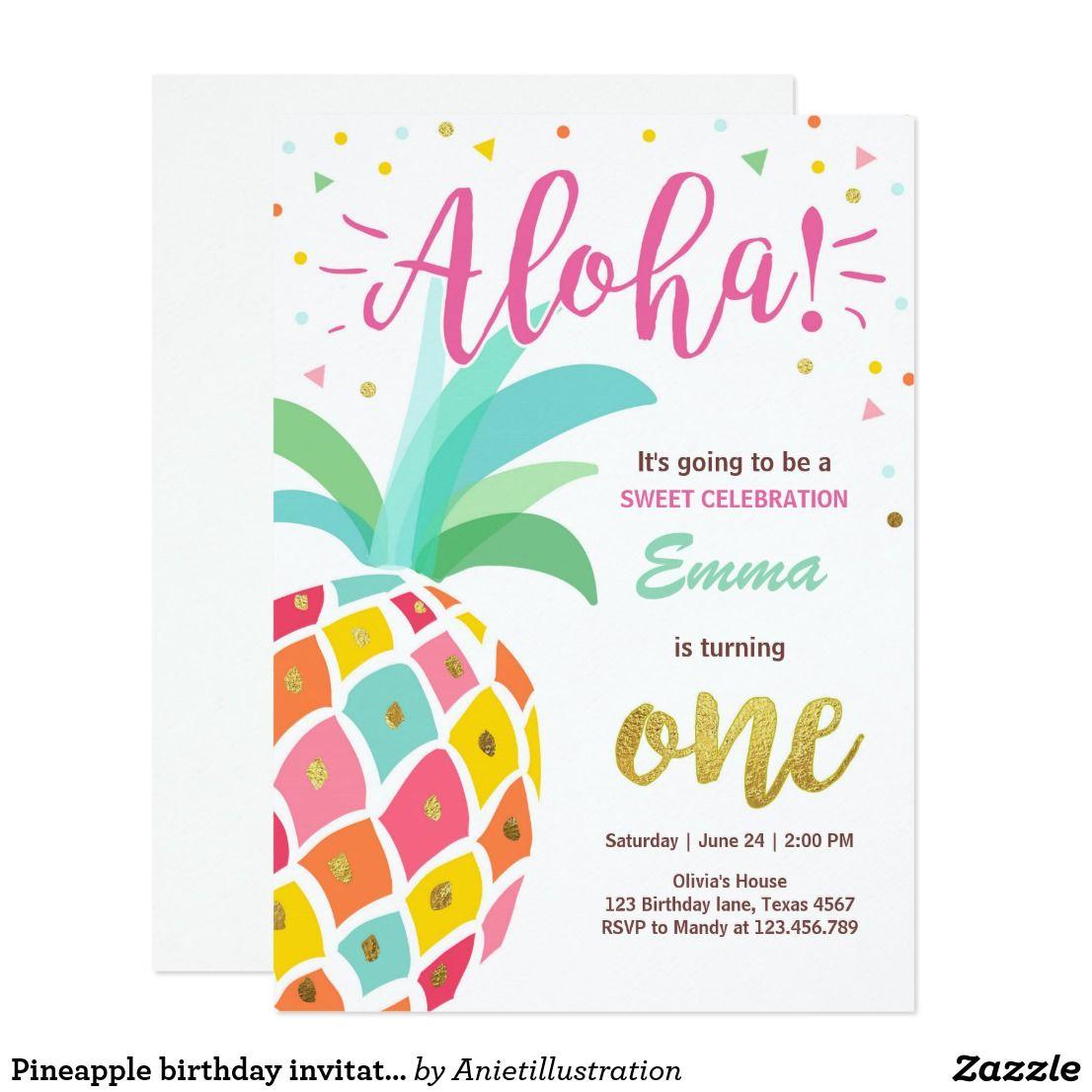 Pineapple birthday invitation Tropical Luau Hawaii   Luau