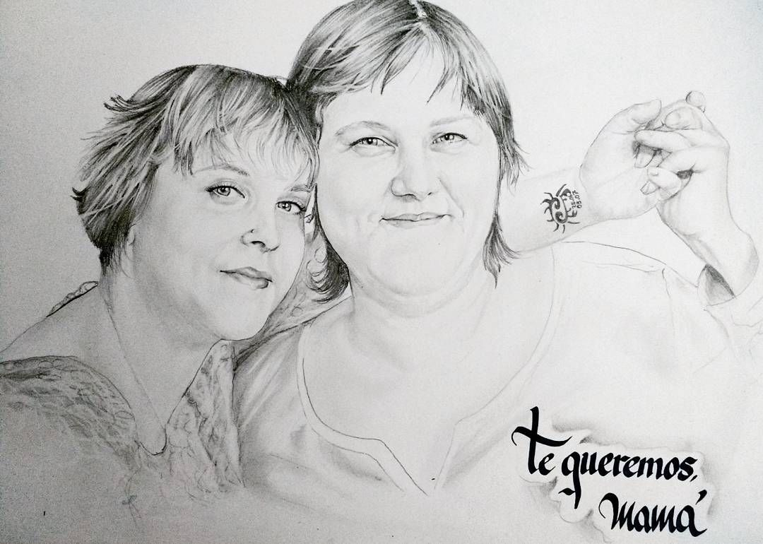 Retrato A Lapiz De Dos Hermanas Regalo Para El Dia De La Madre Instagram Posts Instagram Male Sketch