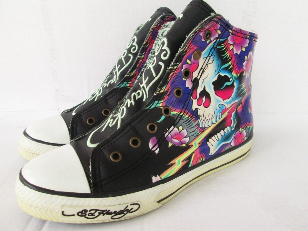 Ed Hardy Converse Chuck Taylor Skull Floral Size 9 Laceless