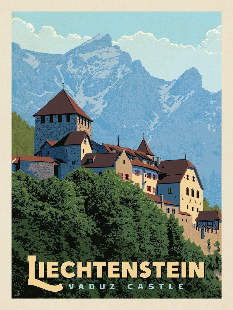 Anderson Design Group World Travel Liechtenstein Retro Travel Poster Vintage Travel Posters Travel Prints