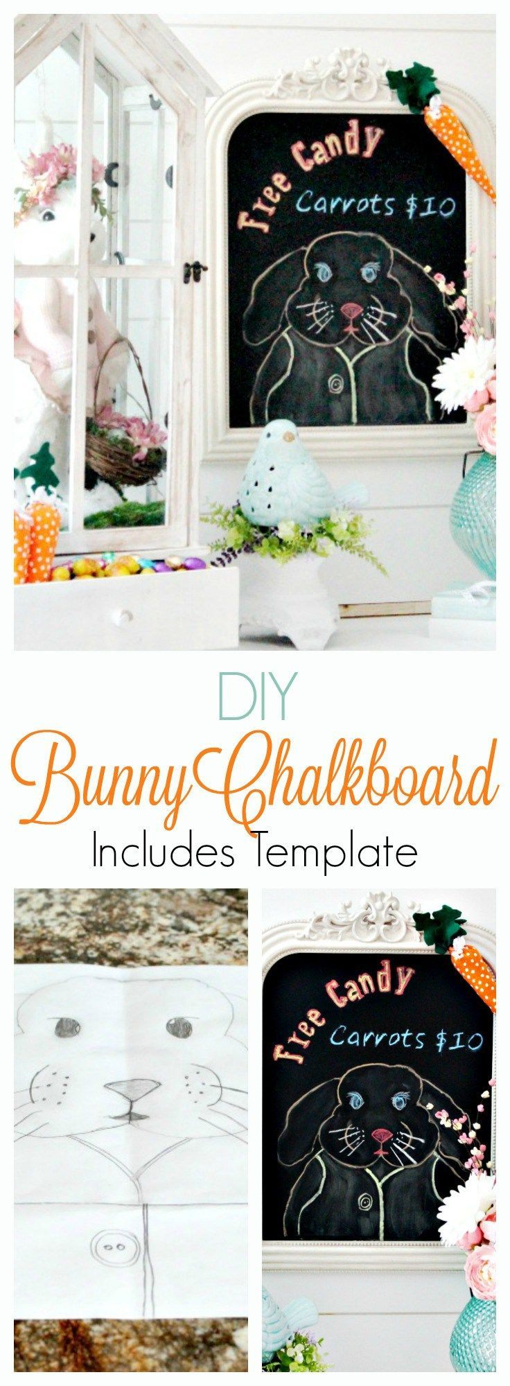 A chalkboard bunny Easter craft used for your Easter decorating ideas. DIY Easter decorations, DIYspring decor, easter bunny crafts, chalkboard bunny, Easter chalkboard, Easter chalkboard designs