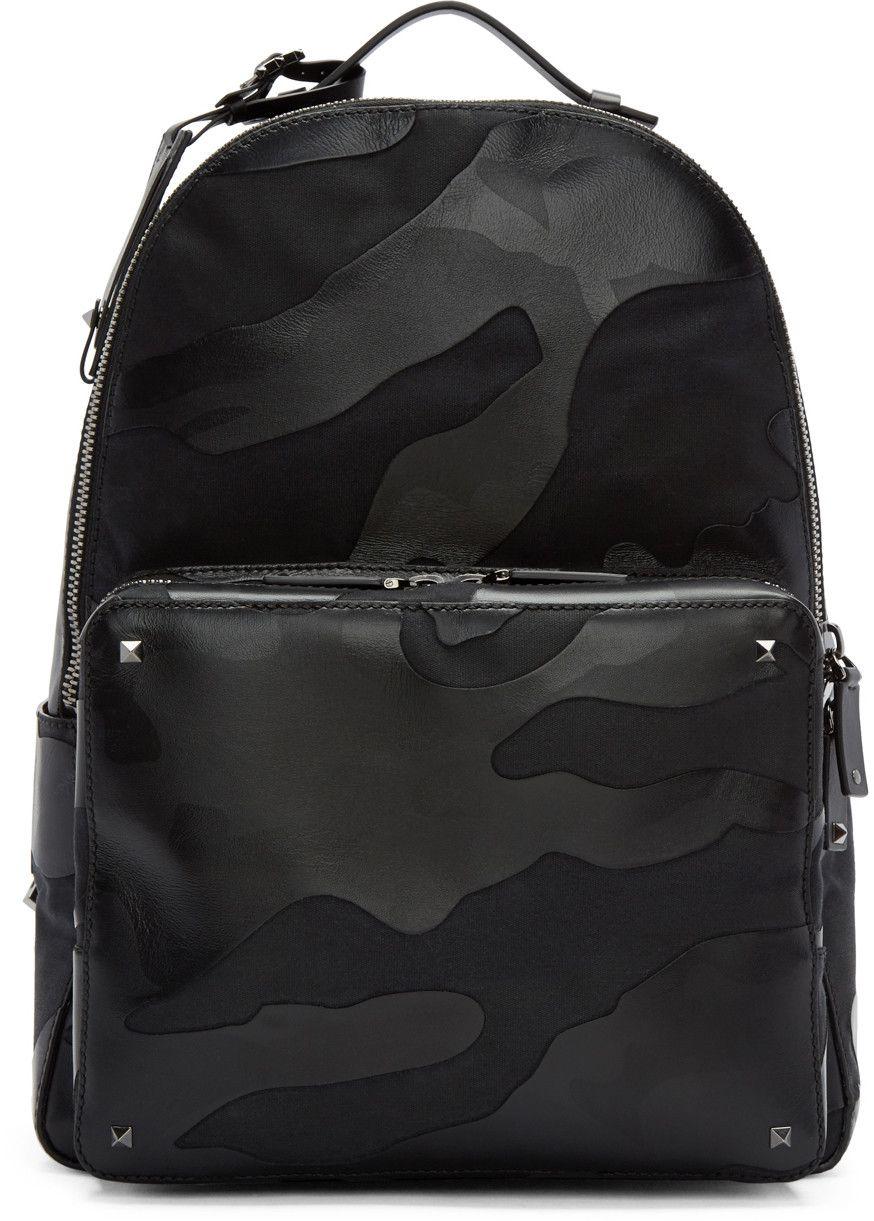 9a3e2b3f9e Valentino - Sac à dos en cuir et toile camouflage noir | Sac ...