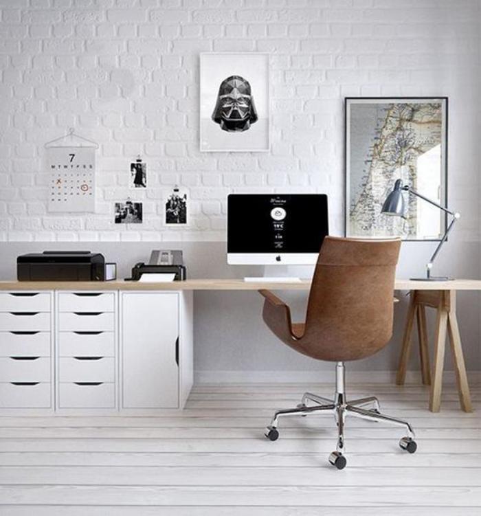 Bureau Design Fauteuil De Mur En Briques Blanches