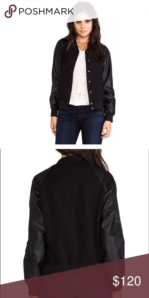 Lovers + Friends Varsity Vegan Leather Jacket Originally $237 on Revolve, this jacket is super cute, and in perfect condition as I've only worn it a handful of times. If you have any questions, please ask!! Thanks for looking!! 💕 Lovers + Friends Jackets & Coats
