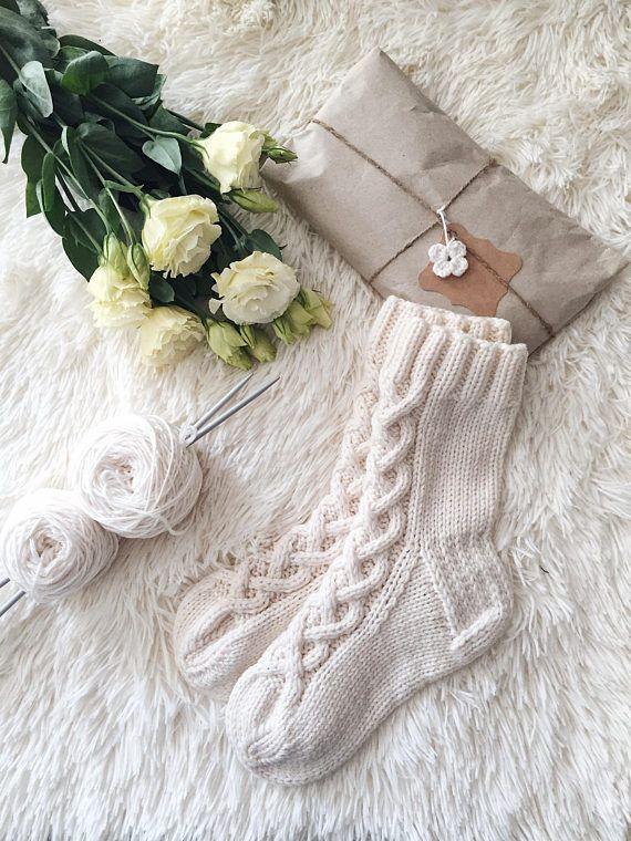 White wool socks Knit socks Winter socks Cable knitted socks Hand knitted socks Casual socks Cable wool socks White womens knit accessory