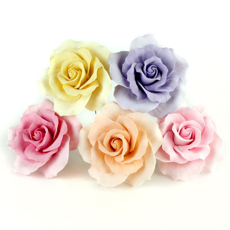 Gumpaste Flowers For Wedding Cakes: Assorted Size Garden Roses - Mix