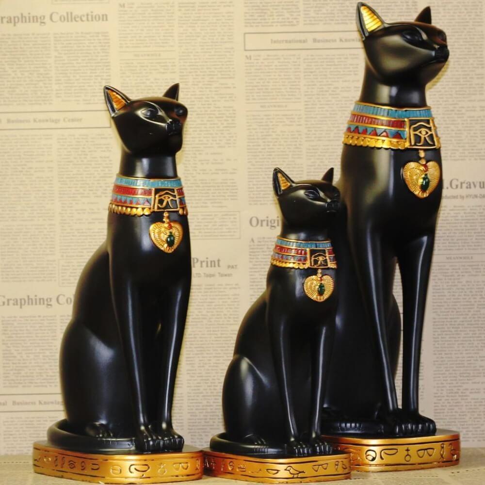 Vintage Black Cat Figurines Egypt Cat Cat Statue Ancient Egypt