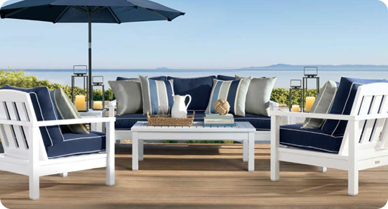Wood Framed Outdoor Sofa Blue Patio Furniture Outdoor Furniture