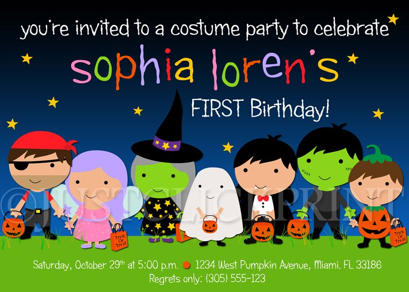 Kids Halloween Costume Party Birthday Invitation Printable from Just ...