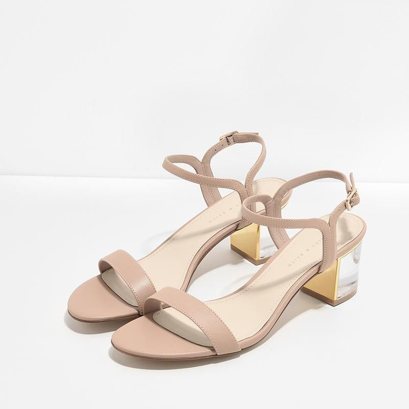 Ankle · Nude Lucite Heel Sandals   CHARLES & KEITH