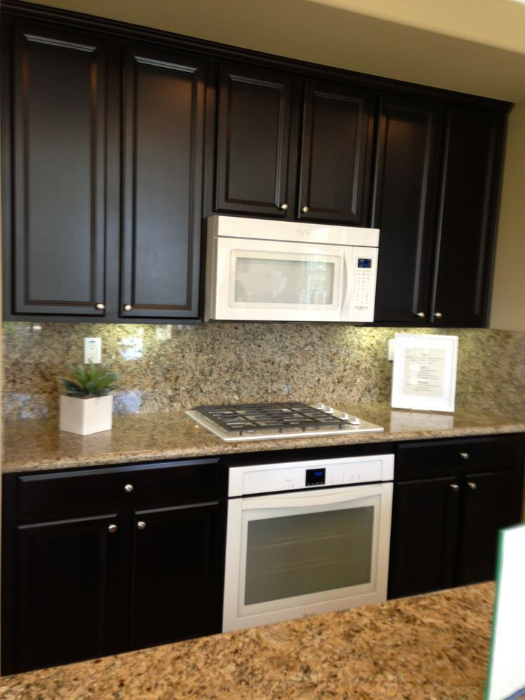 Espresso Kitchen Cabinets With White Appliances Google Search
