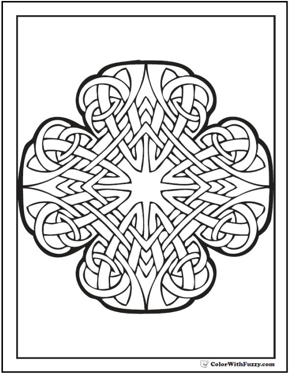 Celtic Coloring Pages At ColorWithFuzzy Radiant Cross Art Designs