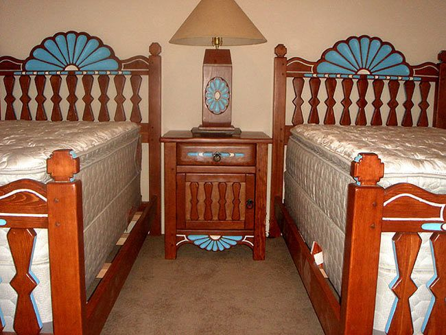 Santa Ana Twin Size Beds, Night Stand And Lamp