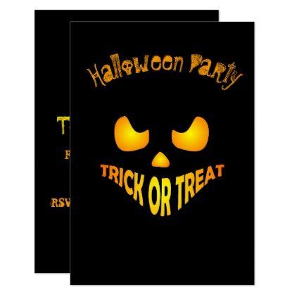 Jack O Lantern Pumpkin Spooky Halloween Party Card