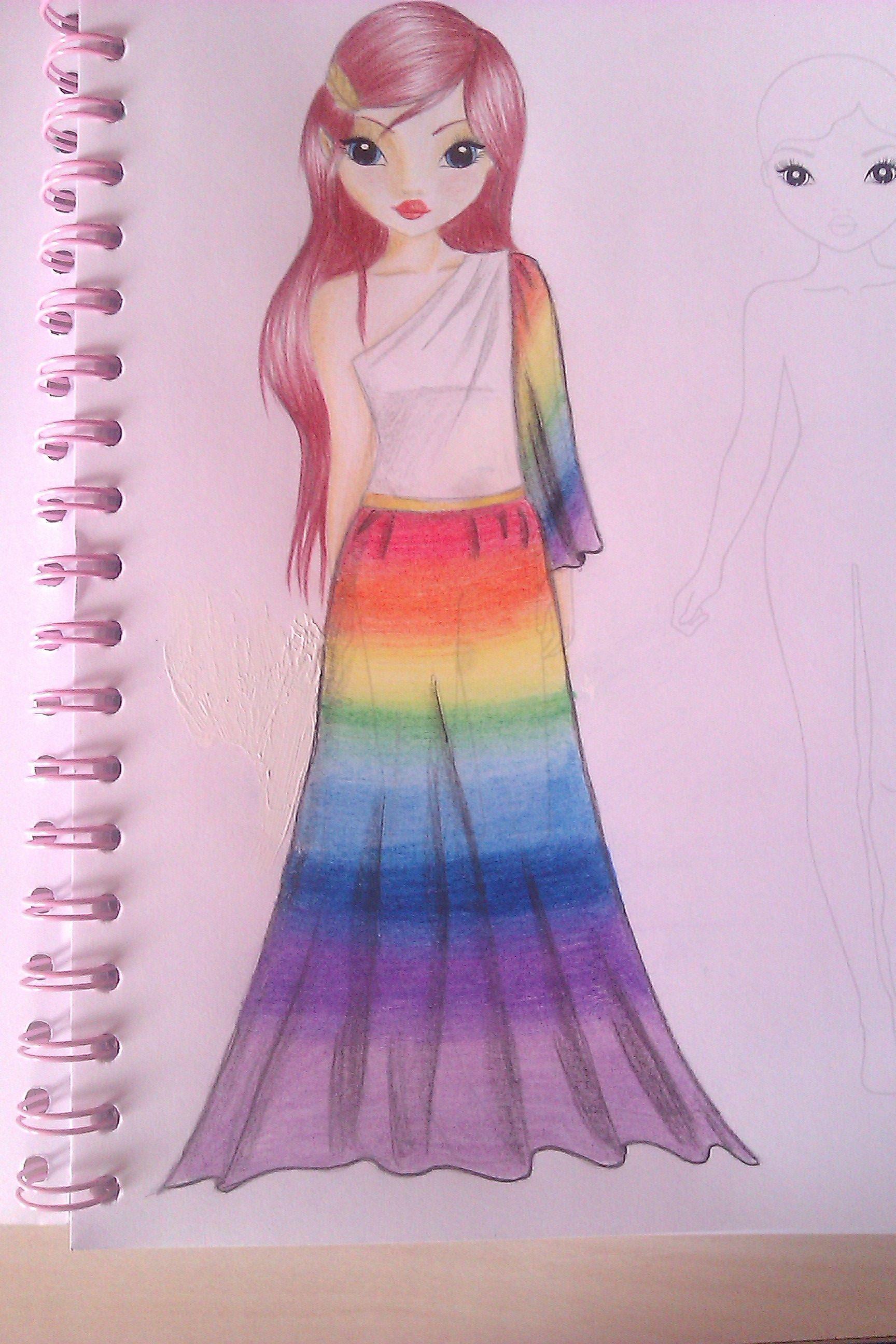 Dresses Drawings Topmodel Drawing Rainbow Dress By Mysteriousgirl