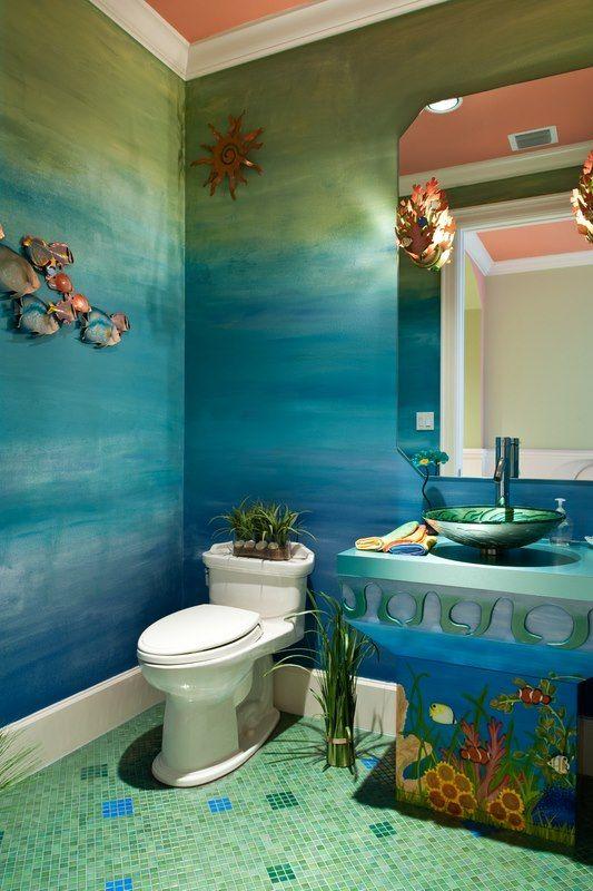 A seaside powder room done by periwinkle designs bohemian bathroomtropical