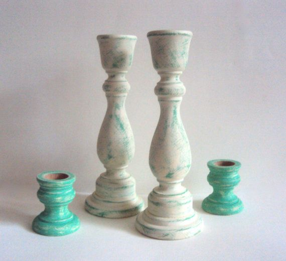 Hey, I found this really awesome Etsy listing at https://www.etsy.com/listing/176219790/shabby-distressed-candlesticks-spring