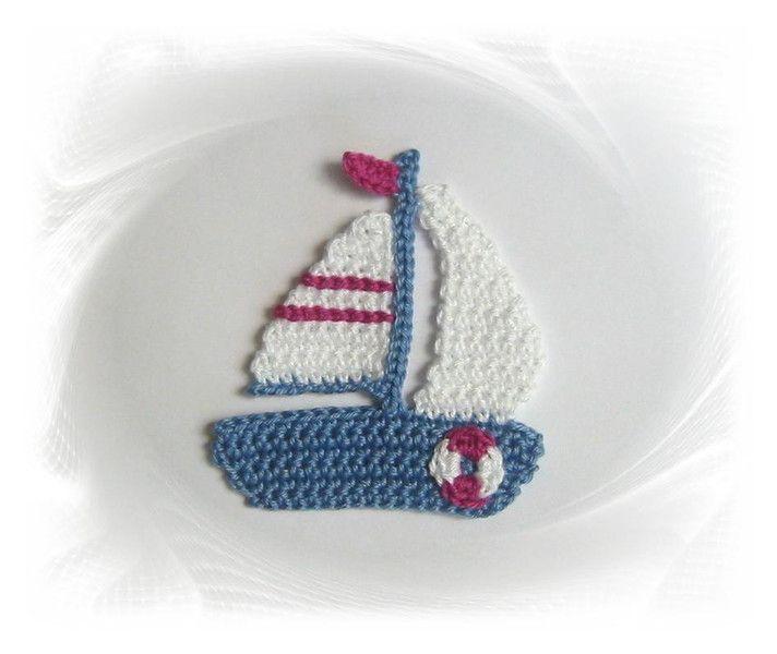 Segelboot Schiff Von Savö Design Häkelapplikationen Auf